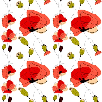 Patrón sin fisuras de flores y cápsulas de amapola