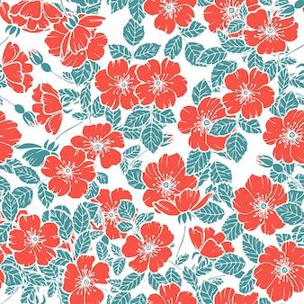 Patrón sin fisuras de flores de cerezo rojo