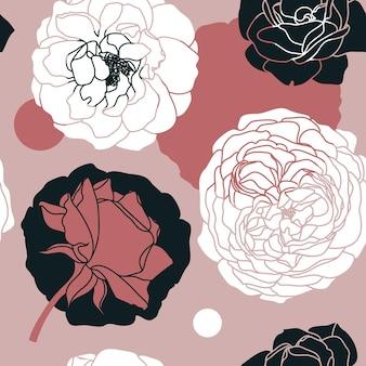Patrón sin fisuras de flores color de rosa