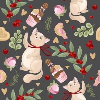 Patrón sin fisuras con flores dibujadas a mano y ilustración de gatos