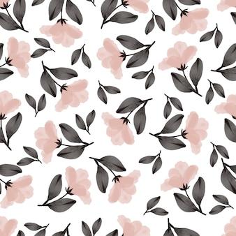 Patrón sin fisuras de flores de durazno y hojas marrones
