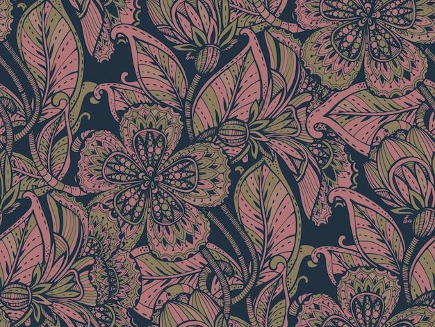Patrón sin fisuras con flores de fantasía de colores dibujados a mano sobre fondo oscuro