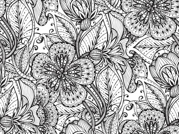 Patrón sin fisuras con flores de fantasía dibujadas a mano sobre fondo blanco.