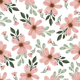 Patrón sin fisuras de flores frescas de durazno