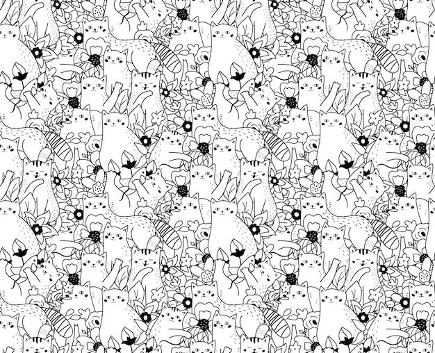 Patrón sin fisuras con flores y gatos divertidos doodle