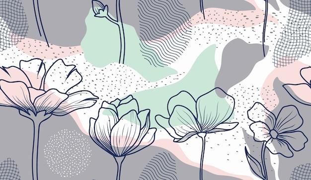 Patrón sin fisuras con flores y hojas abstractas.