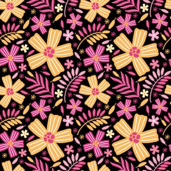 Patrón sin fisuras de flores y hojas exóticas amarillas y rosadas brillantes. fondo de verano flor prado, jardín, plantas, botánico.
