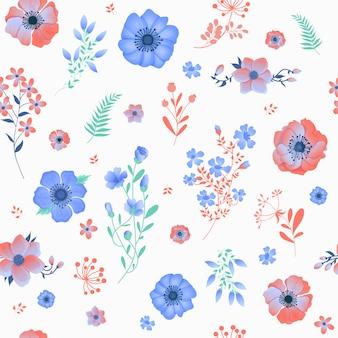 Patrón sin fisuras con flores y hojas