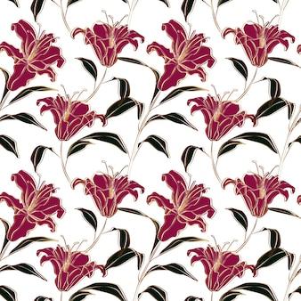 Patrón sin fisuras de flores de lirio rosa