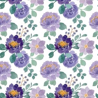 Patrón sin fisuras de flores moradas con acuarela