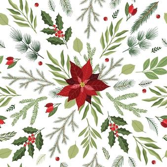 Patrón sin fisuras con flores de nochebuena dibujadas a mano y ramas florales y bayas, flores navideñas.