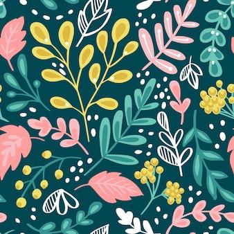 Patrón sin fisuras con flores y plantas.