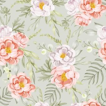 Patrón sin fisuras con flores de primavera melocotón blanco y hojas