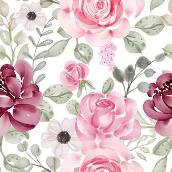 Patrón sin fisuras con flores de primavera rosa y hojas
