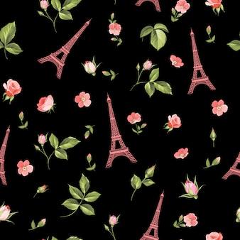 Patrón sin fisuras con flores rojas, hojas y torre eiffel.