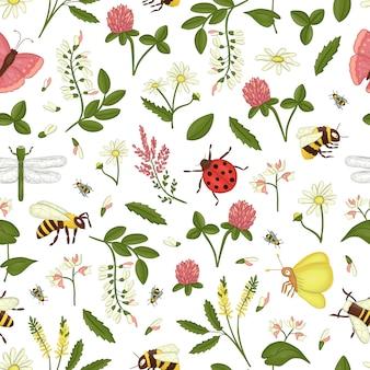 Patrón sin fisuras con flores silvestres, abejas, abejorros.