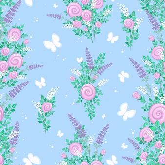Patrón sin fisuras con flores silvestres estilizadas y mariposas sobre un fondo azul.