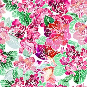 Patrón sin fisuras, flores con textura de tinta de alcohol en el fondo