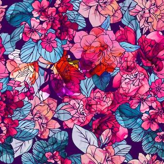 Patrón sin fisuras, flores con textura de tinta de alcohol