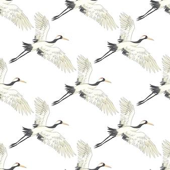 Patrón sin fisuras, fondo con aves tropicales. garza blanca, loro cacatúa. diseño coloreado y de contorno sobre fondo azul marino.