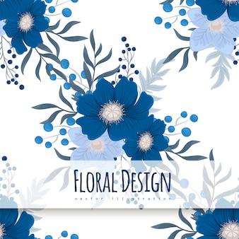 Patrón sin fisuras de fondo azul flor