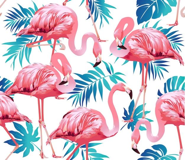 Patrón sin fisuras de fondo de flamingo ave y flores tropicales