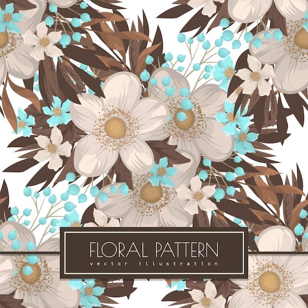 Patrón sin fisuras de fondo de flor blanca