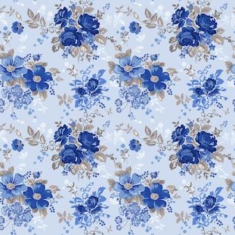 Patrón sin fisuras de fondo floral vintage