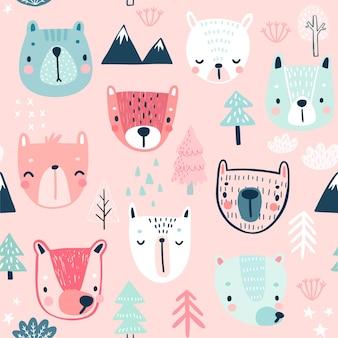 Patrón sin fisuras con fondo infantil osos lindos con personajes dulces y otros elementos