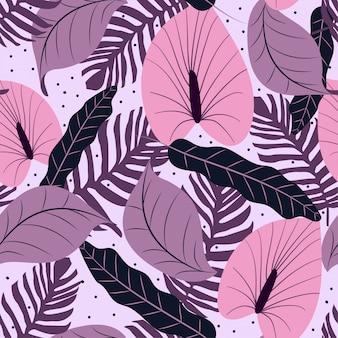 Patrón sin fisuras con fondo lila y hojas tropicales