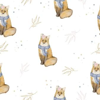 Patrón sin fisuras con fox y hojas de acuarela de invierno
