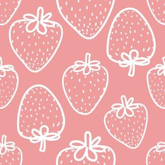 Patrón sin fisuras con fresa para el diseño de papel de regalo.