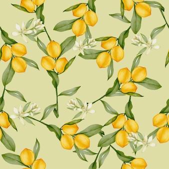 Patrón sin fisuras de fruta cítrica de limón entero amarillo con hojas verdes