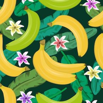 Patrón sin fisuras de fruta fresca de plátano con hojas tropicales y hermosas flores
