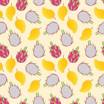 Patrón sin fisuras de fruta fresca de verano