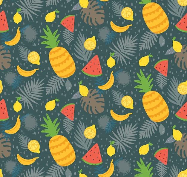 Patrón sin fisuras con fruta de limón amarillo