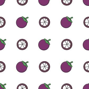 Patrón sin fisuras de la fruta del mangostán. ilustración de mangostán fresco