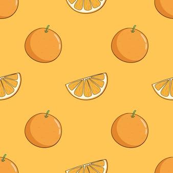 Patrón sin fisuras de fruta naranja con estilo doodle color