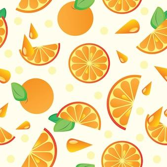 Patrón sin fisuras de fruta naranja - ilustración vectorial de fondo