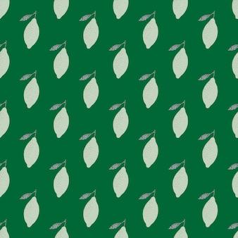 Patrón sin fisuras de fruta orgánica fresca con limones de color gris claro de doodle. fondo verde.