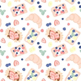 Patrón sin fisuras con frutas, bayas, gofres y croissant. diseño sin costuras para textil o fondo con gofres belgas.