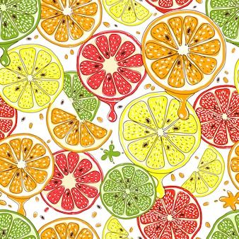 Patrón sin fisuras de frutas cítricas