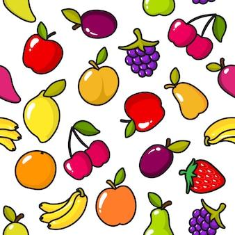 Patrón sin fisuras de frutas con contorno negro