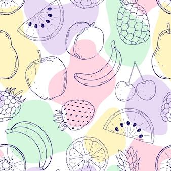Patrón sin fisuras con frutas dibujadas a mano y formas abstractas sobre fondo blanco