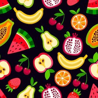Patrón sin fisuras de frutas de dibujos animados