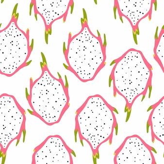 Patrón sin fisuras con frutas de dragón aisladas sobre fondo blanco. ilustración de vector de pitayas tropicales.