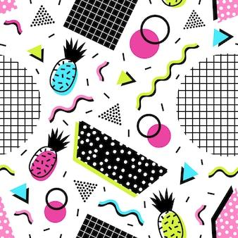 Patrón sin fisuras con frutas exóticas de piña, formas geométricas y líneas onduladas de colores ácidos