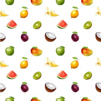 Patrón sin fisuras con frutas, ilustración vectorial