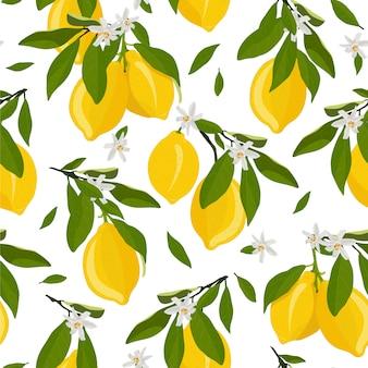 Patrón sin fisuras de frutas de limón con flores y hojas