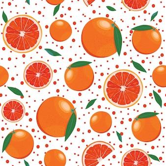Patrón sin fisuras de frutas naranjas con brillantes